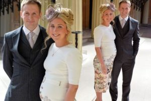 Pregnant Laura Kenny shows off her growing baby bump at CBE ceremony alongside husband Jason