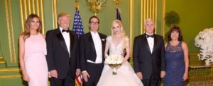 The trumps and Pence's pose with Steven Mnuchin and his bride, Louise Linton