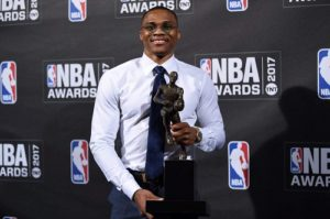 Achievement stats of Russell Westbrook in the NBA season of 2016-2017.