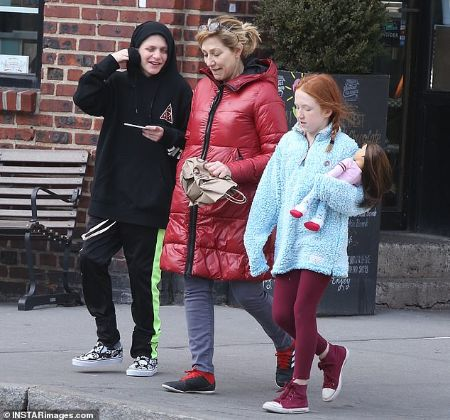 Edie Falco with her kids