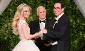 Vice President Mike Pence officiates, Linton and Mnuchin's wedding on Saturday night