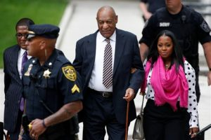 "Comedian ""Bill Cosby"" walks into the court on the first day of trial"