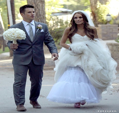 Matt Lanter & Angela Stacy walking together on their wedding day