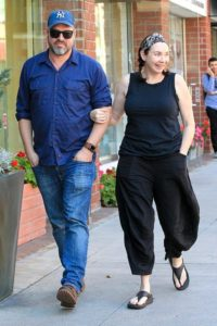 Stephanie Courtney with husband Scott Kolanach walking around Beverly Hills