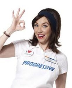 "Stephanie Courtney as ""Flo"" The Insurance Lady for Progressive Corporation"