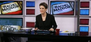 "Rachel Maddow during her television show ""The Rachel Maddow Show"