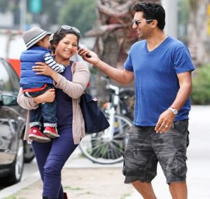 Cliff Curtis, his Wife and Son