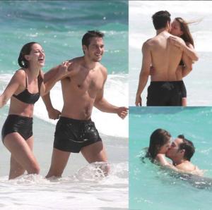 Actress Melissa Benoist kissed her boyfriend, Chris Wood