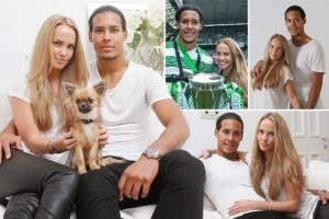 Virgil van Dijk with his long-time girlfriend, mother of his child, Rike Nooitgedagt