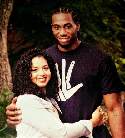 Kawhi Leonard with his longtime girlfriend, Kishele Shipley