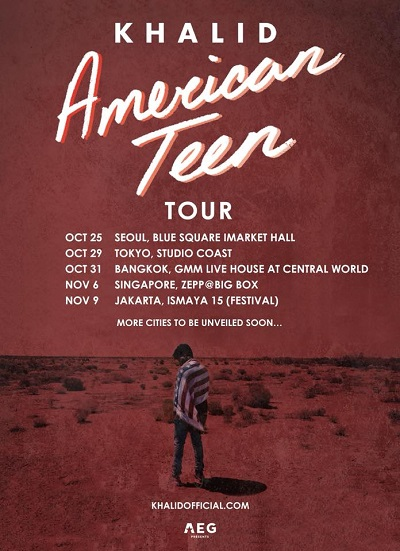 khalid American Teen Tour on Asia dates