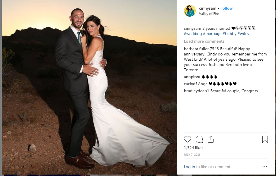 Cindy Sampson and her spouse Ryan Wicke's wedding photo