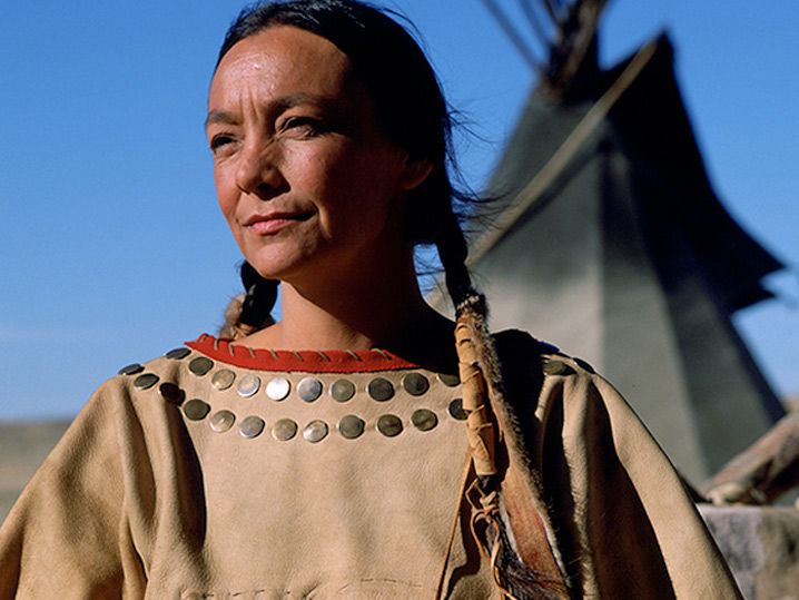 Tantoo Cardinal dressed as an indigenous tribe
