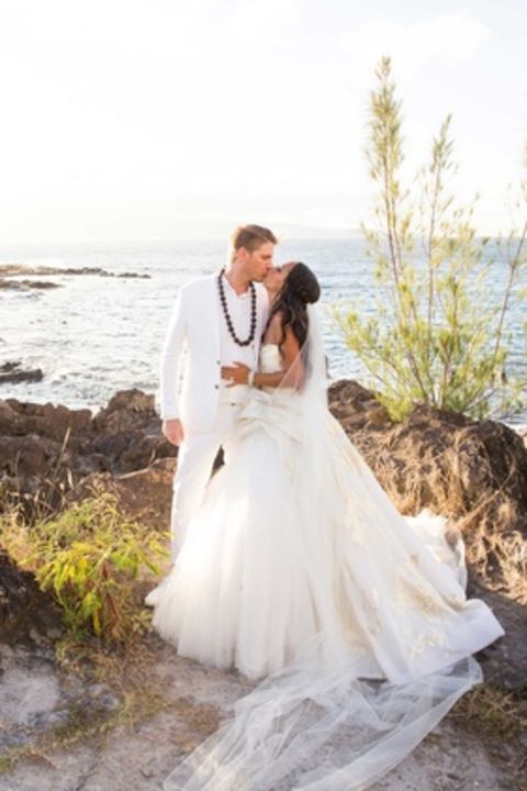 Chudney Ross kissing her husband Joshua FAulkner