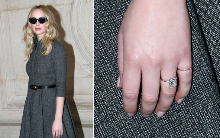 Jennifer Lawrence Features Massive Engagement Ring from Fiance Cooke Maroney in Paris Fashion Week