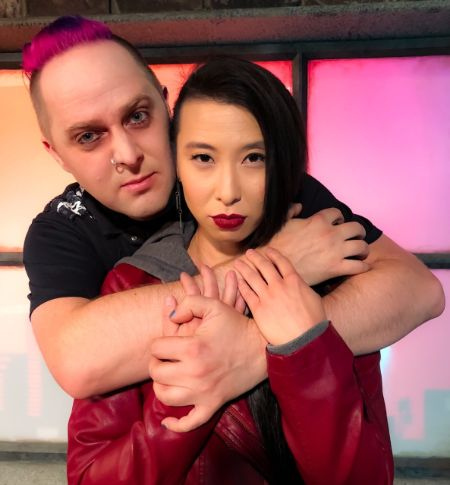Voice actors Taliesin Jaffe and Erica Ishii