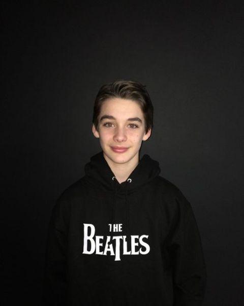 Dylan Kingwell in The Beatles Hoodie