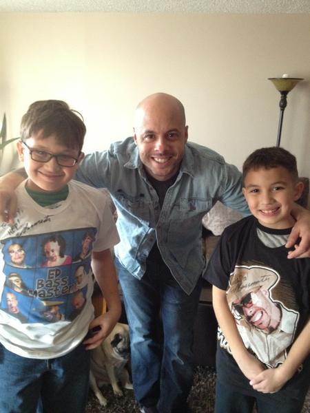 Ed Bassmaster with his children posing