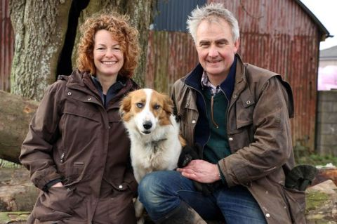 Kate Humble with her husband and pet dog