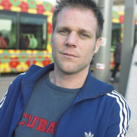Remi Gaillard wears blue jacket
