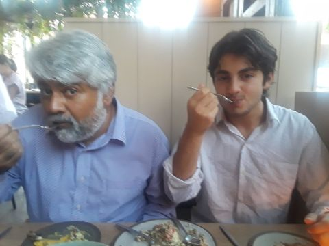 Tunku Varadarajan with his son Satya Varadarajan.