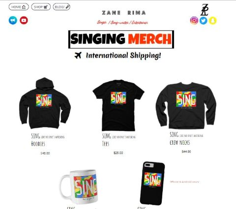 Zane Rima sells merch from her official website