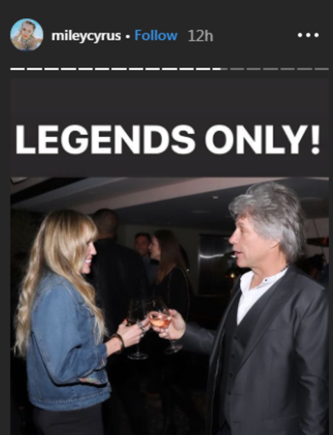 Miley Cyrus and Jon Bon Jovi share a toast during the Bon Jovi Hampton event