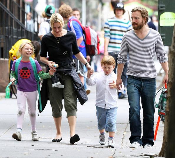 Mia Honey Threapleton with her mum Kate Winslet, dad Jim Threapleton and step-sibling Joe Alfie Winslet