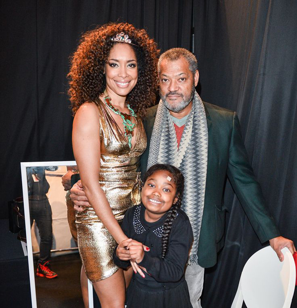 Deliah Fishburne with parents Gina Torres, and Lawrence Fishburne