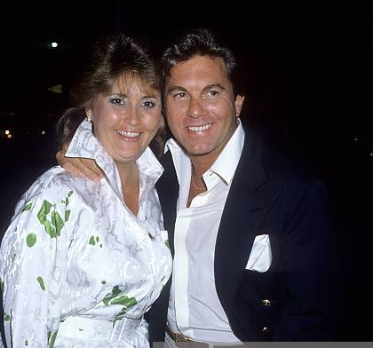 Actor Larry Manetti and wife Nancy on May 28, 1986 dine at Nicky Blair's Restaurant in West Hollywood, California.