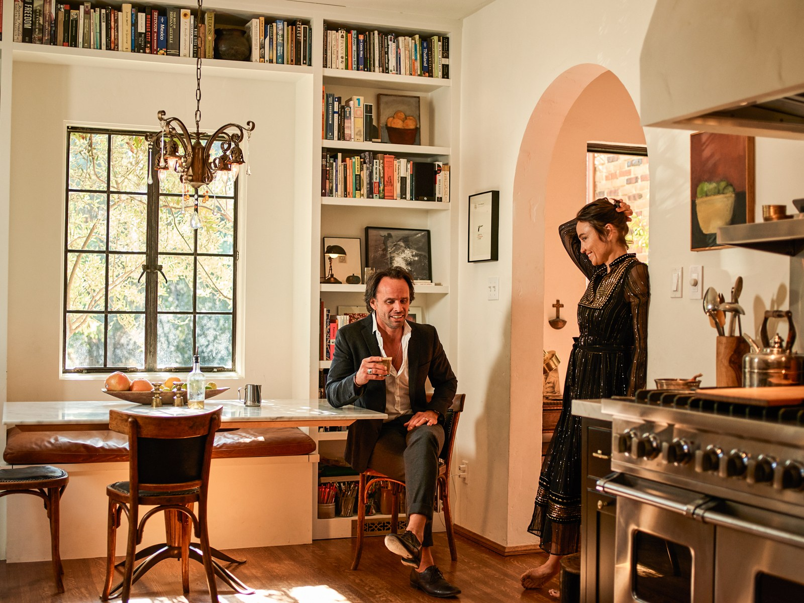Nadia Conners and her partner Walton Goggins at their house in Los Angeles.