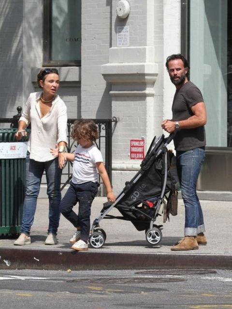 Nadia Conners with her spouse Walton Goggins and their kid