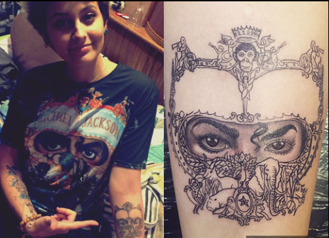 Paris Jackson got this design inked by tattoo artist Justin Lewis, which was taken from the cover of MJ's iconic 1991 album Dangerous.