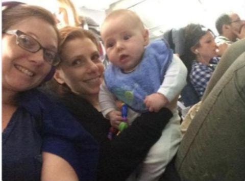 Julia Boorstin with her kid Henry Samuelson