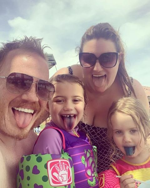 Kaycee Stroh with her spouse Ben Higginson and their daughters