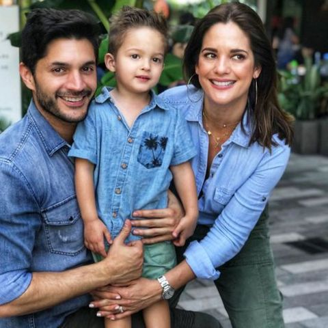 Sabrina Seara, her husband, and her child pose for a photo