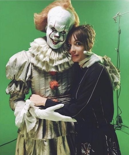 Alida Morberg and her husband as Pennywise the Clown on the set of It movie