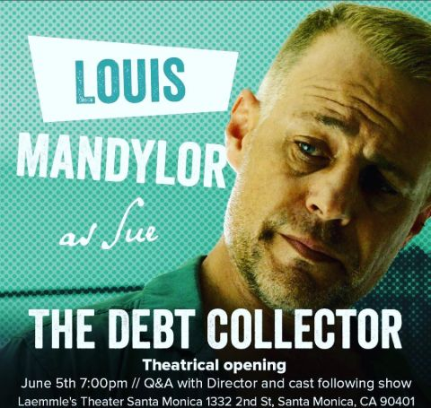 Louis Mandylor at the left at the cover of The Debt Collector.