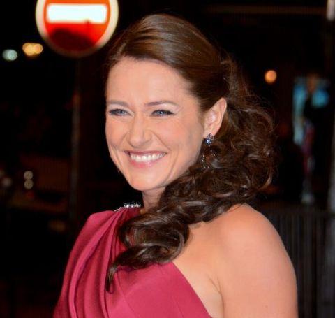 Sidse Babett Knudsen in a gorgeous red dress.