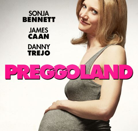 Carrie Ruscheinsky looks pregnant in the poster of her movie, Preggoland.