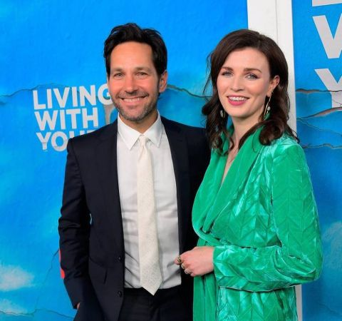 Paul Rudd in black suit with Aisling Bea on a green dress.