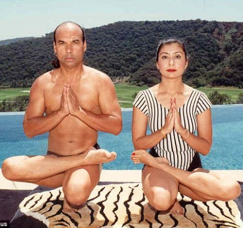Rajashree Choudhury and her ex-husband Bikram Choudhury performing Yoga.
