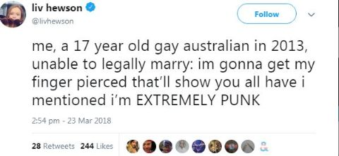 Liv Hewson's tweet explaining her sexuality and marriage problems.