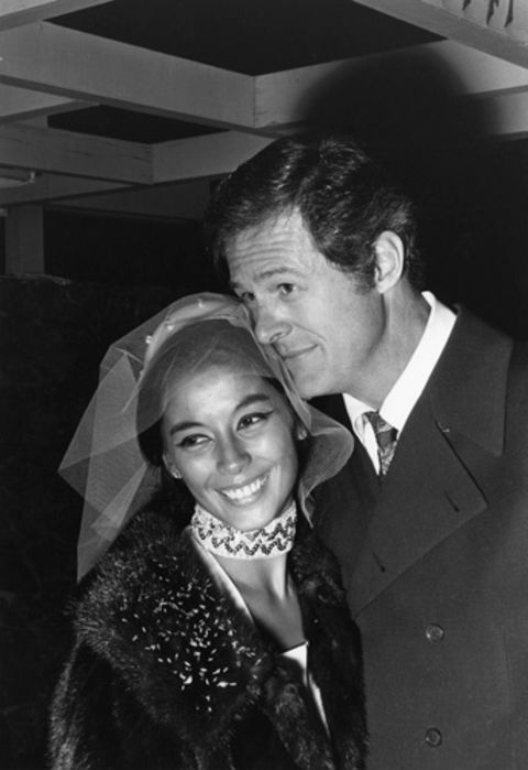 France Nuyen and her former husband Robert Culp in a black and white photo