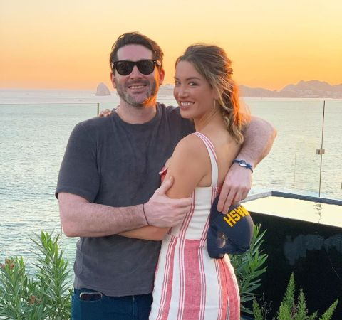 Melissa Bolona with boyfriend General Saf at a sunset scene.