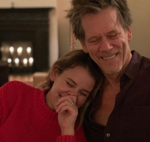 Sosie Bacon with her celebrity daddy Kevin Bacon at Thanksgiving.