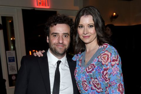 David Krumholtz giving a pose along with his wife, Vanessa Britting.