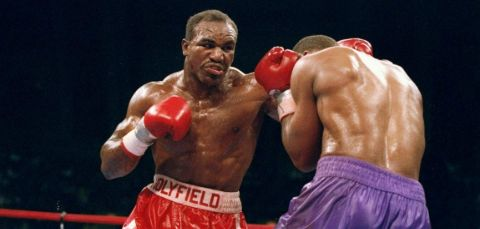 Evander Holyfield, during his fight in the ring.