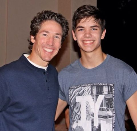 Jonathan Osteen with his father Joel Osteen.