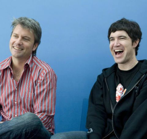 Tom Anderson in black jacket with fellow founder of Myspace Chris DeWolfe.